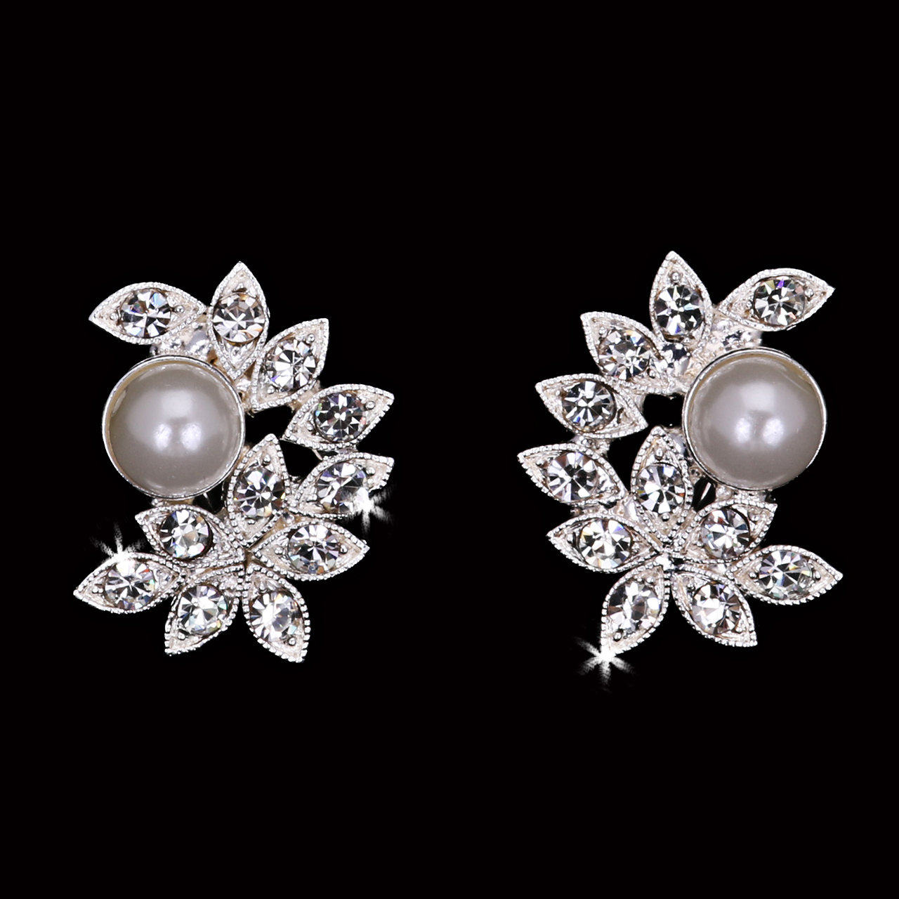 Pearl and Rhinestone Post Earrings